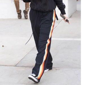 Kylie Jenner Rainbow & Black Track Pants